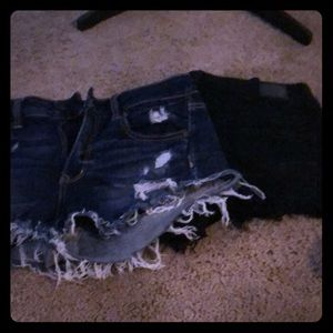 American Eagle shorts 2 pair one black and denim